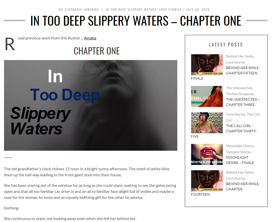 IN TOO DEEP SLIPPERY WATERS -CHP 1